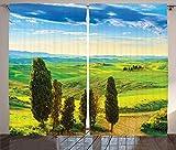 ABAKUHAUS Naturaleza Cortinas, Puesta del Sol Rural en Italia, Sala de Estar Dormitorio Cortinas Ventana Set de Dos Paños, 280 x 260 cm, Azul Verde