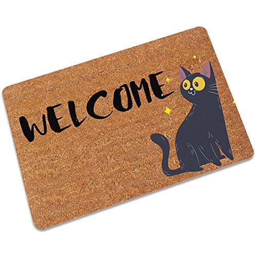 Surui Fußmatte Schmutzmatte Fussmatten Türmatten Welcome Motiv Katze Waschbar und Rutschfest Fußabtreter fur Eingangsbereiche Innen und Aussen Bereich #7 40x60 cm