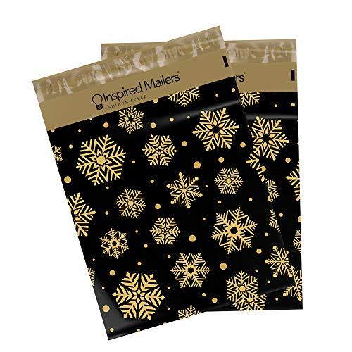 Inspired Mailers - Holiday Poly Mailers 10x13-100 Pack - Gold Snowflakes - Shipping Bag - Polybags for Shipping - 10x13 Poly Mailers - Package Bags - Winter Shipping Envelopes