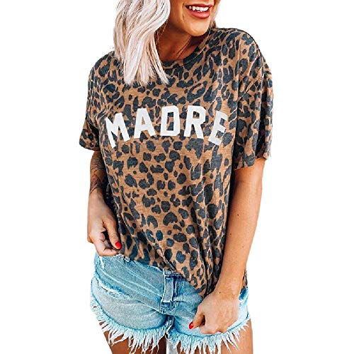 NOBRAND - Camiseta de manga corta con estampado de leopardo para mujer