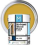 Pintura para Madera   Bio-based Wood Paint RAL 1032   4 L   para todo tipo de madera   Pintura madera exterior con un aspecto de acabado semi mate cálido y sedoso   Color Naranja