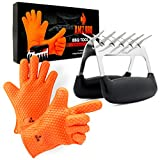 AMZ BBQ CLUB, BBQ Gloves and Meat Claw Accessories with Heat-Resistant Silicone Glove and Meat Shredder (Orange)