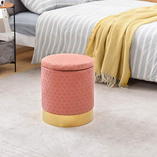 Velvet Round Footrest Stool Ottoman Modern Upholstered Padded Vanity Pouffe Stool with Storage Function Side Table Seat (Pink)