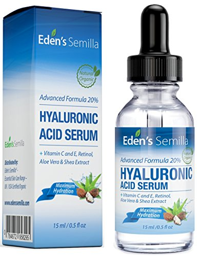 Hyaluronic Acid Serum 15ml - Best hydration moisturiser for the face. Contains Vitamin C, Retinol, Vitamin E. Plumps and smoothes fine lines and wrinkles. Antioxidant protection and collagen builder for softer more radiant and healthier looking skin.