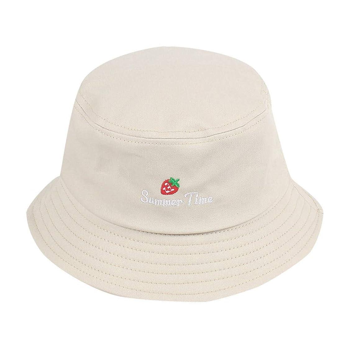 良心理想的ルーキー帽子 夏 発送 漁師の帽子 レディース ハットラップ 森ガール かわいい 吸汗通気 女優帽 日よけ UVカット 帽子 ハット レディース 棉 日よけ つば広 紫外線対策 小顔効果抜群 刺繍 いちご ROSE ROMAN