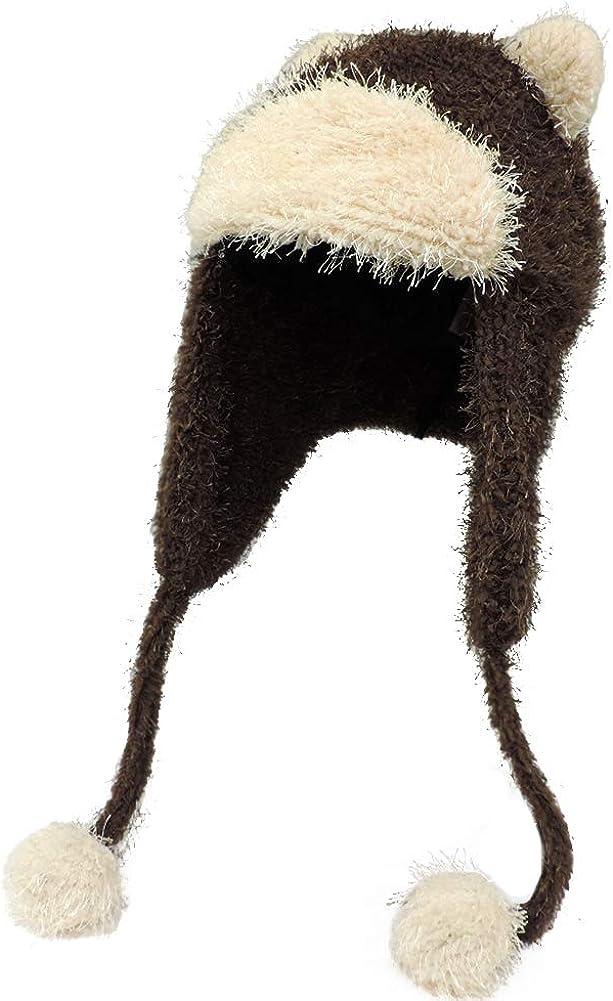 Fleece Teddy Bear Ear Trapper Winter Hat w/Pom Tassels Brown/Ivory