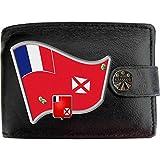 Wallis Futuna Drapeau Carte Armoiries Klassek Portefeuille Homme Vrai Cuir Noir RFID Blocage Poche à Monnaie avec Boîte en Métal