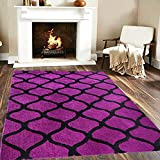 Material : Microfiber, Color : Purple Black, Size : 3 X 5 Feet Package Content : 1 Shaggy Microfiber Rug/Carpet/Kalin Made Of High Quality Microfiber Material And Ensures Long Lasting Performance, And Comes With Perfectly Finished Edges, Give A Beaut...