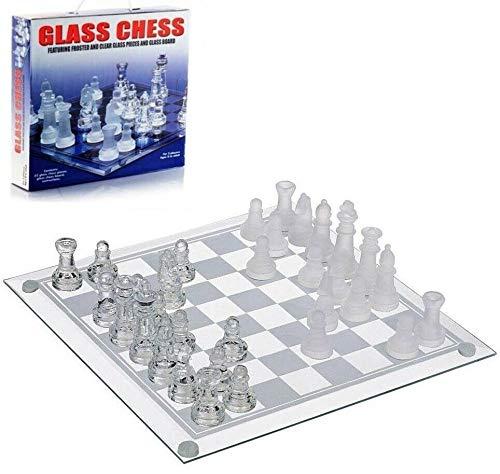 ADS Technologies Ajedrez con Tablero de Cristal Juego de Mesa Ajedrez Chess 20 x 20 cms Nuevo
