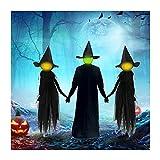 2021 Strega Decorazione di Halloween Streghe - Tenersi per Mano Strega Luminose con Paletti, Decorazioni per Halloween per Esterni, Scena di Illuminazione Fantasma Puntelli Decorazioni da Giardino (B)