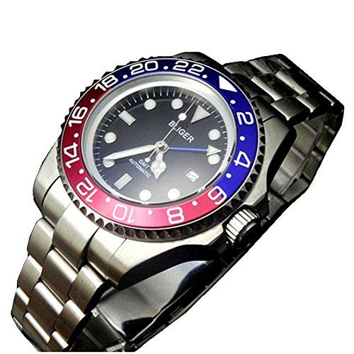 bliger 47mm GMT Blau Rot Keramik Lünette Schwarz Zifferblatt automatische Herren-Armbanduhr