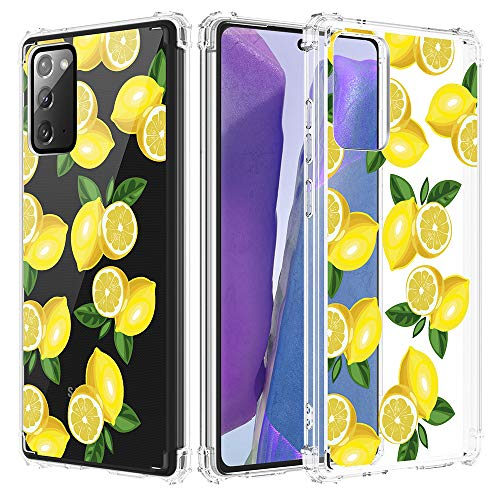 Caka Galaxy Note 20 Case, Galaxy Note 20 Clear with Design, Note 20 Case Floral Clear Flowers Pattern for Girls Women Girly Slim Soft TPU Case for Galaxy Note 20 (Lemon)