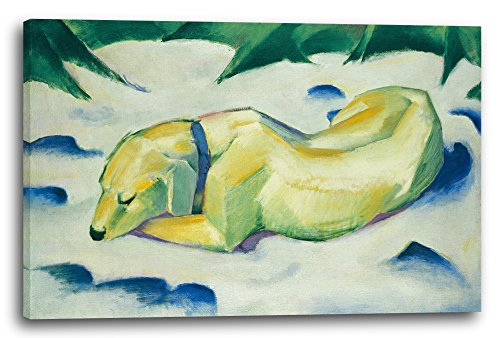 Printed Paintings Leinwand (60x40cm): Franz Marc - Liegender Hund im Schnee (191011)