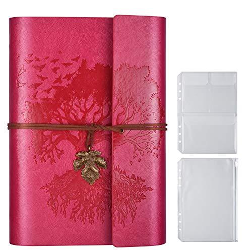 Cuaderno de piel sintética, páginas en blanco, rellenable, vintage, cuaderno de bocetos de viaje, diario de viaje, regalo para niñas, niños, mujeres, hombres, 23,3 × 16 cm, rosa