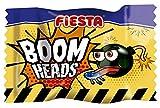 FIESTA Boom Heads Pintalenguas Caramelo Duro Sabor Fresa Ácida Relleno de Masticable de Fresa - Caja de 150 unidades