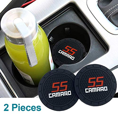 monochef Auto Sport 2.75 Inch Diameter Oval Tough Car Logo Vehicle Travel Auto Cup Holder Insert Coaster Can 2 Pcs Pack Fit Camaro Accessory