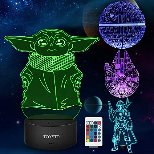 Star Wars Regalo 3D lampada,Luce Notturna Giocattolo With Four Pattern and 7 Color Change Decor Lamp - Regali perfetti per i Fan di Star Wars Mens Ragazzi e Ragazze