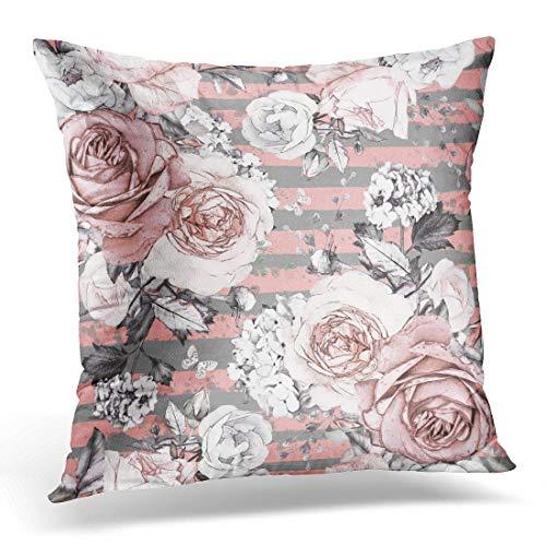 N\A Funda de Almohada Decorativa Flores Rosas y Hojas en Gris con Tira Patrón Floral de Acuarela Grunge Rosa en Color Pastel Funda de Almohada Sofá Decoración para el hogar Funda de Almohada