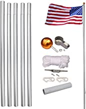 LEMY 20FT Sectional Flagpole Outdoor Aluminum Flag Pole Kit with The American Flag, Great for Residential or Commercial (20FT)