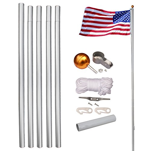LEMY Flag Pole Aluminum Sectional Flagpole Kit Outdoor Halyard Pole W/ 3'x5' US Flag,Top Ball,In-Ground Pole and Hardware (16ft)