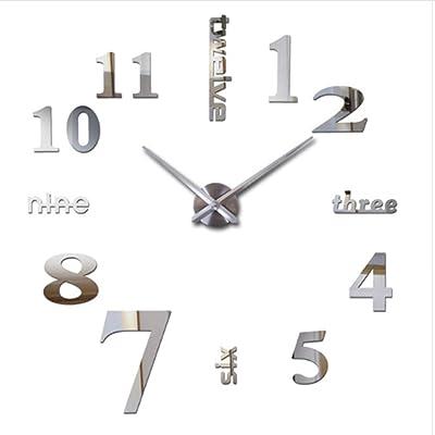 VanseRun Mute Reloj de Pared 3D con Números Adhesivos DIY ...
