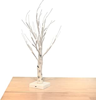 OBELON Silver Birch Twig Tree with Light Pre lit Table Top Decoration Trees Branch Lights 32 LED 1.8ft Tall for Christmas Easter Halloween Holiday Home Bedroom Windowsill Decorative – Gray White