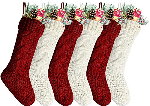Kunyida Pack 6,18' Unique Burgundy and Ivory White Knit Christmas Stockings