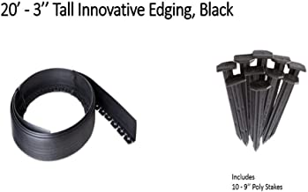Valley View NDETC-20 Black 3'' Tall Innovative Dig 20 feet Long with 9'' Poly Stakes (10 Quantity) Lawn Edging, Garden Border