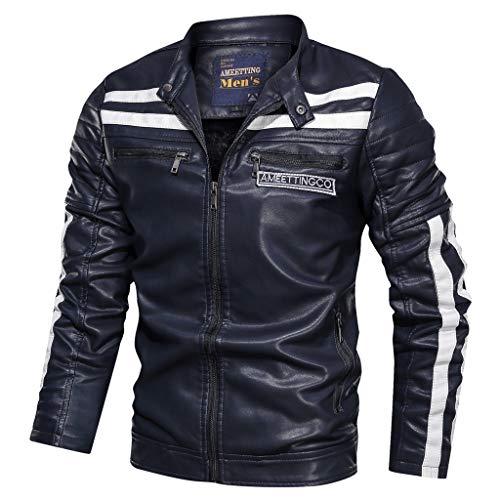 YULINGSTYLE Herren Casual Biker Jacke Bomber Motorrad Jacken Winter Übergangsjacke Leather Lederjacke Parka mit Reißverschluss Pilotenjacke