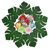 Pangda 32 Stücke Simulation Hibiskus Tropische Blätter für hawaiianische Luau Dschungel Party Dekoration - 2