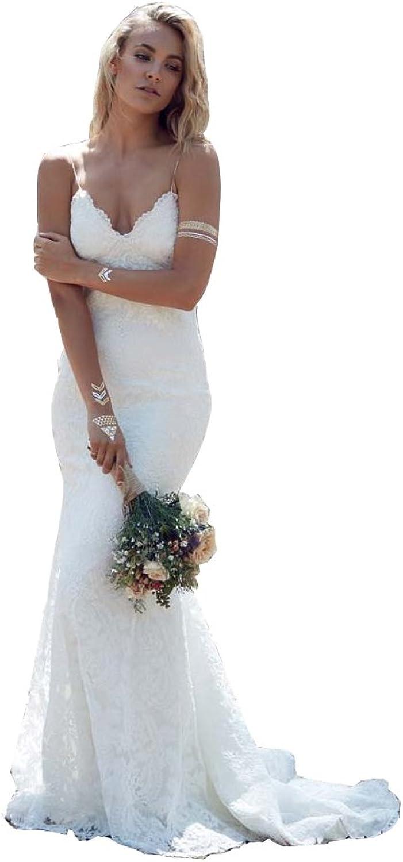 Irenwedding Women's Spaghetti Slim Applique Lace Open Back Beach Wedding Dress