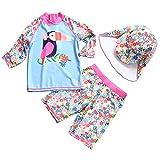 AIWUHE Baby Mädchen Zwei Stück Schwimmanzug Sonnenschutz Badeanzug mit Hut Blumen Bade-Set Bademode Schwimmbekleidung, 100
