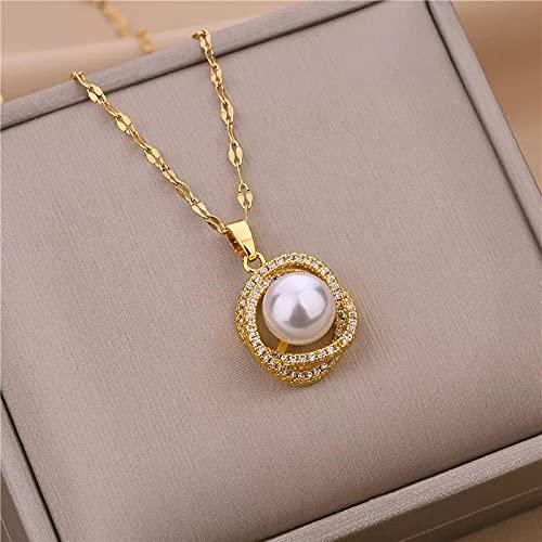 Collares Joyería Colgantes Collar De Gargantilla con Colgante De Perlas De Cristal De Lujo De Moda Coreana para Mujer, Exquisito No Se Desvanece, Cade