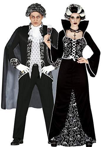 Fancy Me Da donna e da uomo coppia nero/bianco elettrico vampiro vestito per Halloween costumi, outfit