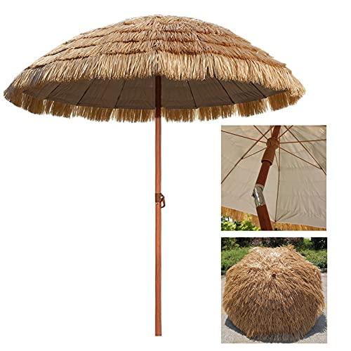 YYQ SHOP Ombrellone da Spiaggia in Paglia Φ180cm Funzione di inclinazione Portatile Ombrello Hula Hawaiano Rotondo Impermeabile UV50 + Parasole per Feste in Giardino,Naturale