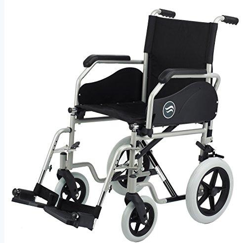 """Sunrise Medical - Silla de ruedas plegable brezzy 90 con ruedas traseras macizas de 12"""", medida 40x40 cm, color negro"""