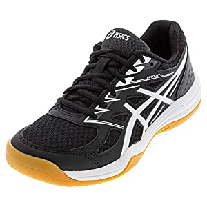ASICS Women's Upcourt 4 Volleyball Shoes, 8, Black/White