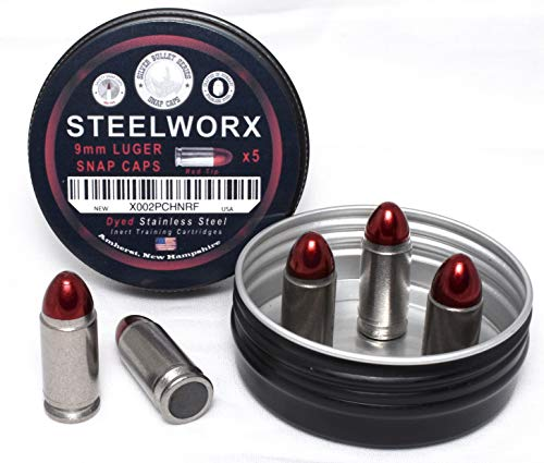 Steelworx 9mm Stainless Steel Snap Caps/Dummy Rounds (5 RedTip)