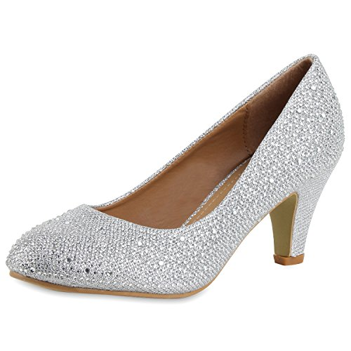 SCARPE VITA Klassische Damen Pumps Strass Glitzer Party Metallic Stilettos 160680 Silber Strass 37
