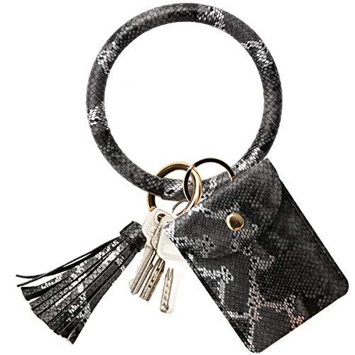 COOLANS Wristlet Bracelet Keychain Card Holder Card Pocket PU Leather Purse Tassel Keychain Bangle Key Ring for Women Girls (Style 10)