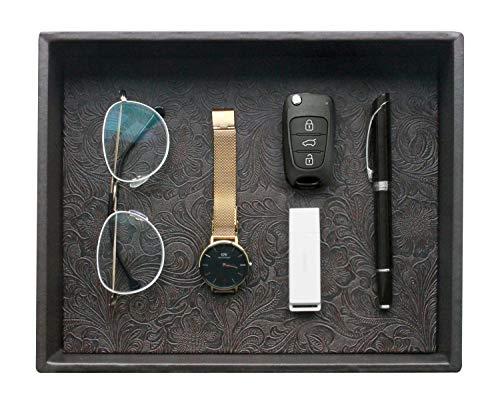Gurfuy Fashion Catchall Tray, Valet Tray, Desktop Storage Organizer Box for Nightstand or Dresser, 10.2 x 8.4 x 1.8 inches (Black)