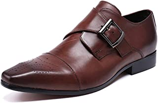 Men's Monk Shoes,Banquet Wedding Dress Shoes Buckle Business Leather Shoes Cowhide Footwear,Brown- 41/UK 7.5/US 8