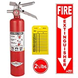 Amerex B417T, 2.5lb ABC Dry Chemical Class A B C Multi-Purpose 2.5 Pound Fire Extinguisher with Wall Bracket, Mobile Deals Sticker Sign and Blank Inspection Tag