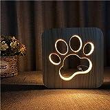 Solo 1 pieza Nueva pata de perro de madera 3D noche luz LED decoración de dormitorio de niños luz blanca cálida regalo de fiesta de cumpleaños de luz única para niños amigos