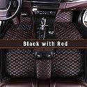 SAINA Auto Fußmatten Für Ford Ranger 2019 Allwetter Matte Kunstleder Wasserdicht Automatten Schwarz Rot