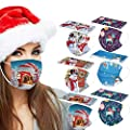 Koippimel 50Pcs, Adult 3Ply Disposable_Face_Mask, Christmas Printed Breathable Face_Masks with Elastic String & Nose Clip for Dust Protection, Nightmare Before