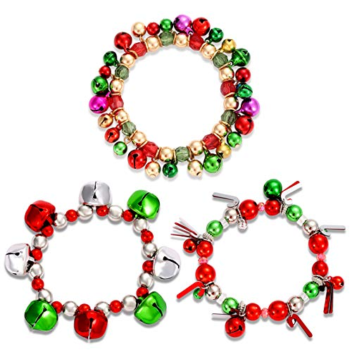 3pcs Christmas Jingle Bell Bracelets Xmas Multi Color Stretch Beaded Charm Bracelet Gift Jewelry Christmas Stocking Stuffers Holiday Party Favors For Women Girls Kids