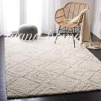 Abstract Modern Shaggy Carpet (Ivory/Beige, Microfiber, 5 x 7 Feet)