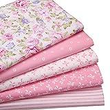 YYSZ Tessuto Cotone Stoffa Patchwork Quadratini di Stoffa Tessuti Quadrati di Cotone per Lavoretti Cucito 46 * 56 cm 5 Pezzi(Rosa)