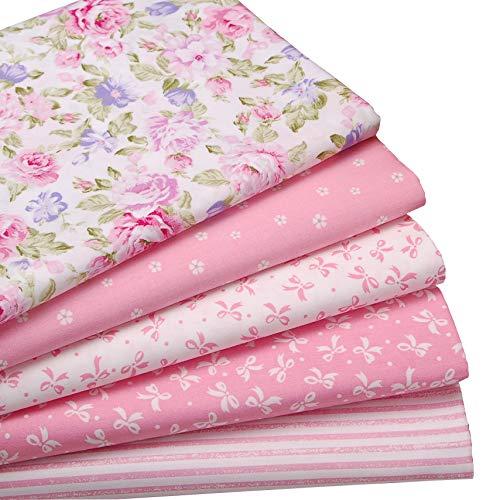 5 Stück Rosa Fat Quarters Quilten Stoff Bundles, 46x56 cm bunte Baumwollgewebe für Quilten Nähen Patchwork, 18